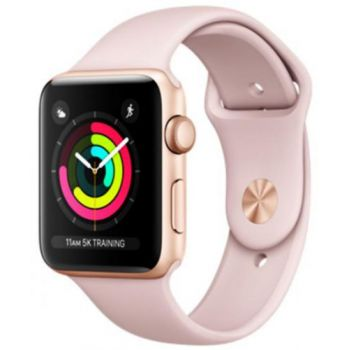 Ceas inteligent Smartwatch Apple Watch 3, AMOLED Capacitive touchscreen 1.65inch, Bluetooth, Wi-Fi, Bratara Silicon 42mm, Carcasa Aluminiu, Rezistent la apa si praf (Roz)