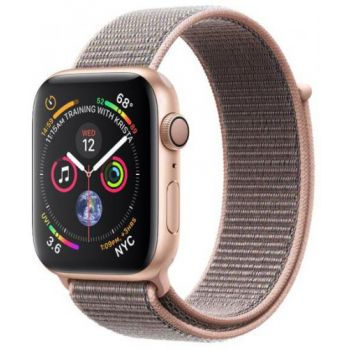 Ceas inteligent Smartwatch Apple Watch 4, 40mm, LTPO OLED Retina Display, GPS, Bluetooth, Wi-Fi, Bratara Sport Loop Roz, Carcasa aluminiu, Rezistent la apa si praf (Gold)
